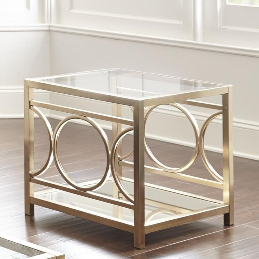 Metal Glass End Tables Olympia Glam Metal And Glass End Table Morris Home End Tables