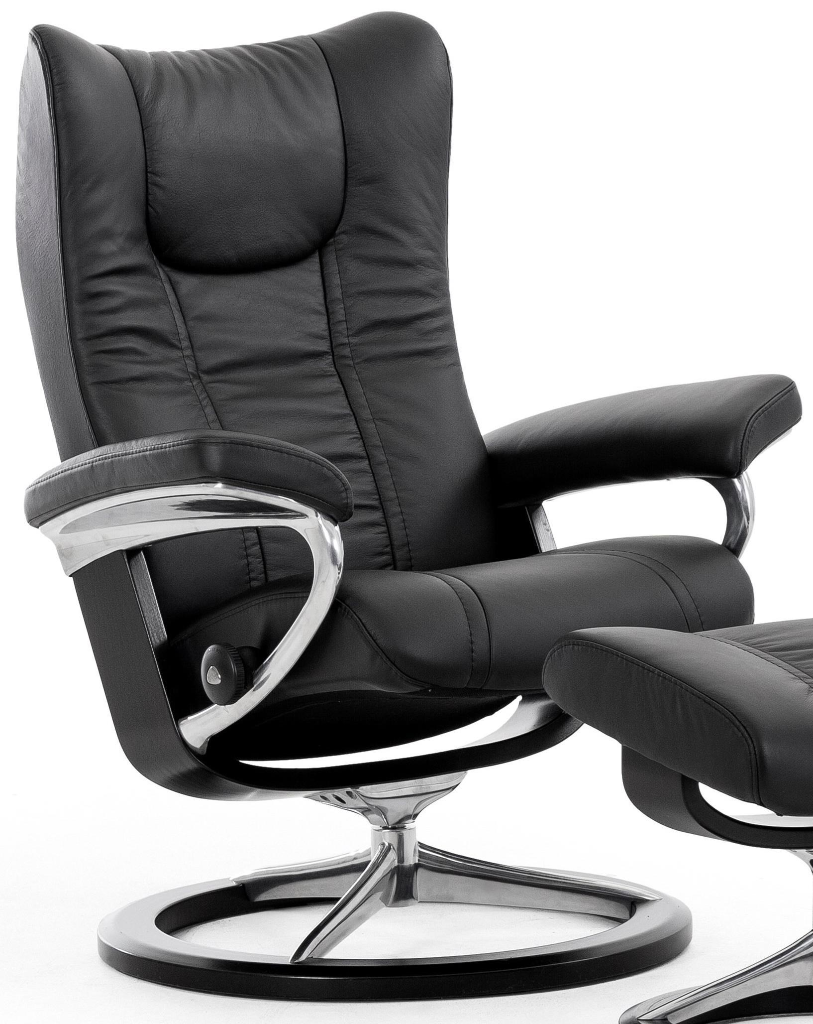 Stresless Wing Small Reclining Chair With Signature Base By Stressless At Hudson S Furniture