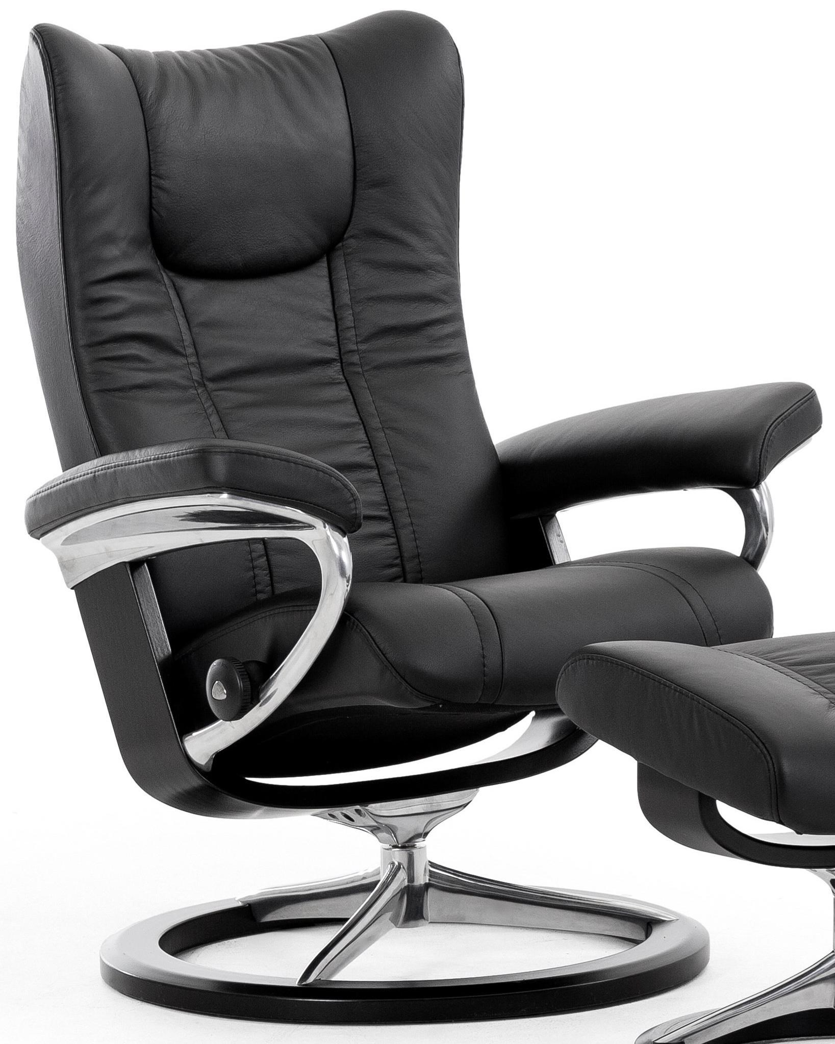 Stressless Outlet Wing Medium Reclining Chair With Signature Base By Stressless At Hudson S Furniture