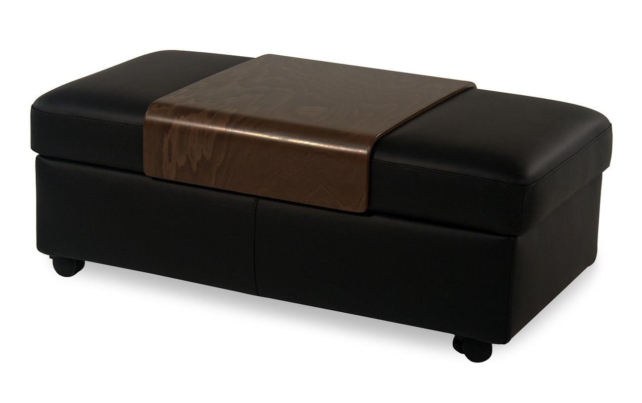 Ekornes Stressless Stressless Accessories Double Cocktail Ottoman W Table Top Storage Paloma Black By Stressless By Ekornes At Rotmans