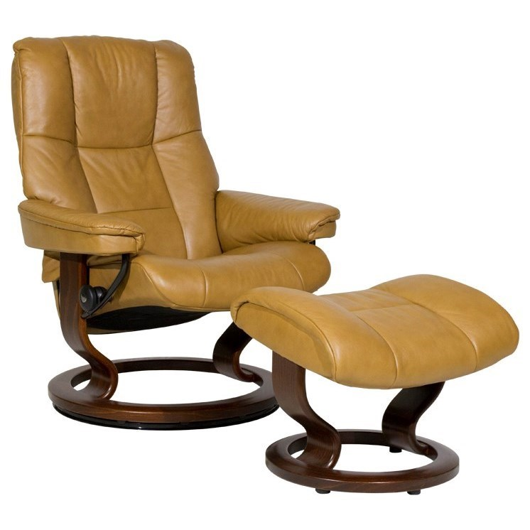 Sressless Mayfair Medium Reclining Chair Ottoman With Classic Base By Stressless At Dunk Bright Furniture