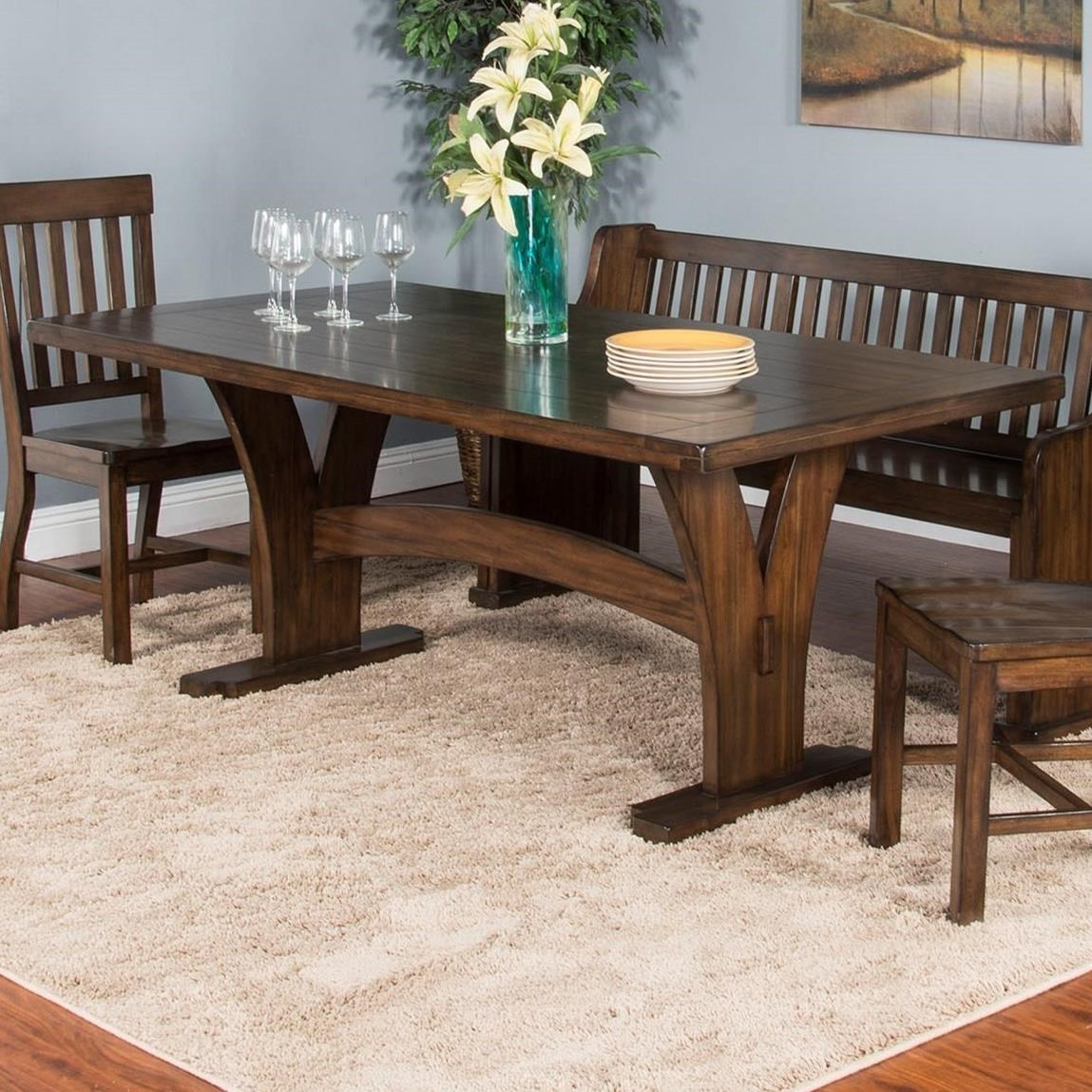 Dining Table Designs Lancaster Mission Trestle Table By Sunny Designs At Suburban Furniture