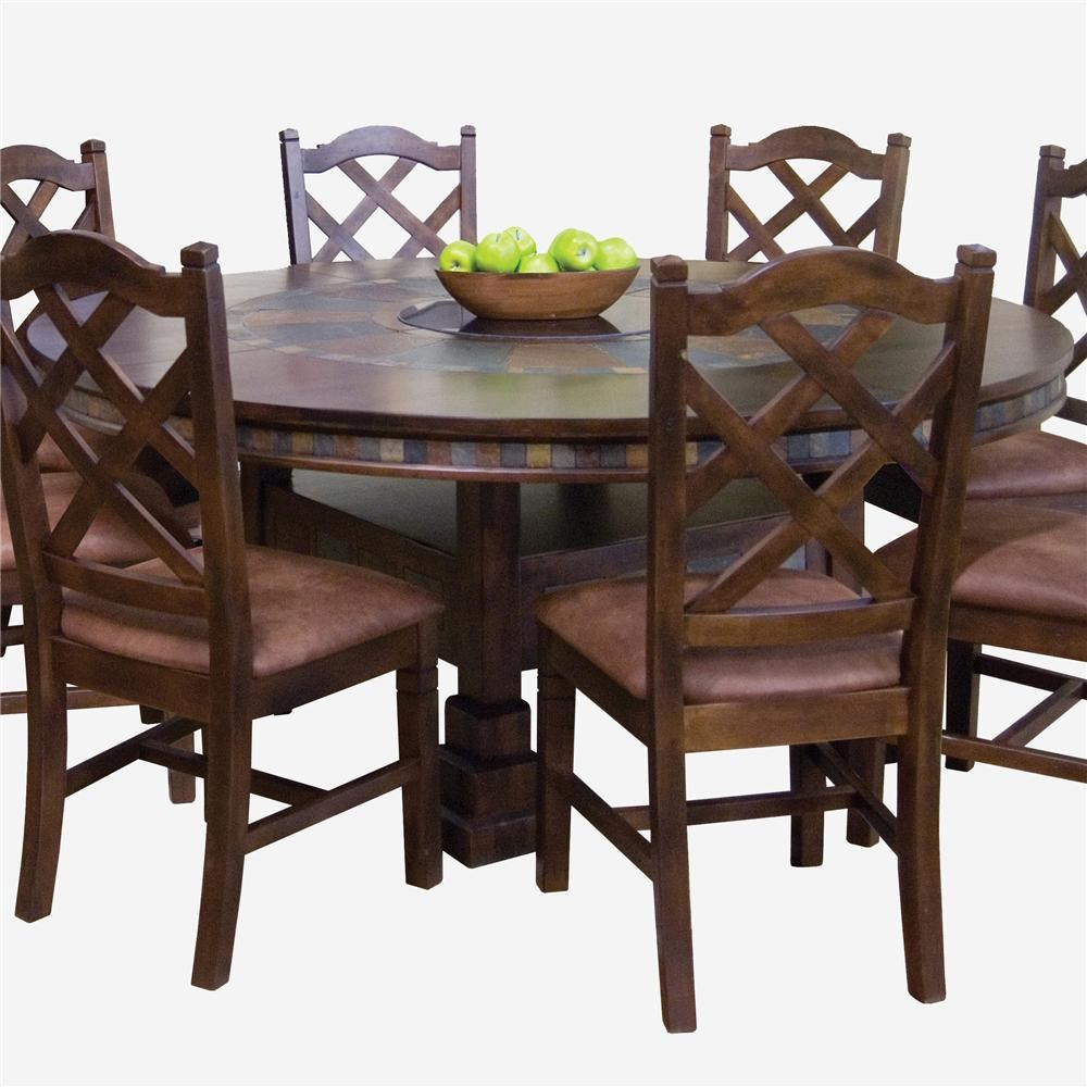 Dining Table Designs Santa Fe Traditional Round Dining Table With Slate Tile Inserts And Lazy Susan By Sunny Designs At John V Schultz Furniture