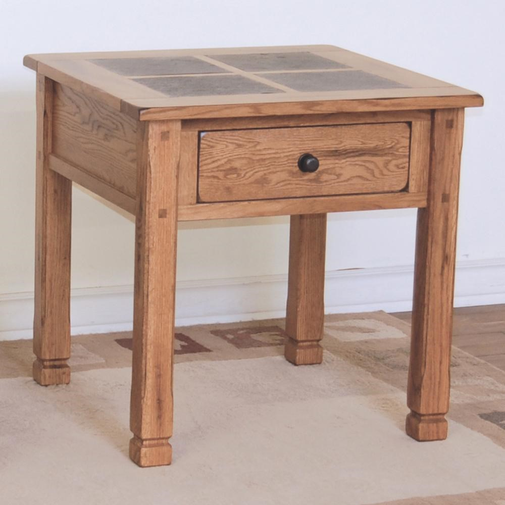 Rustic Wood End Table Sedona Rustic Oak End Table With Slate Top By Sunny Designs At John V Schultz Furniture