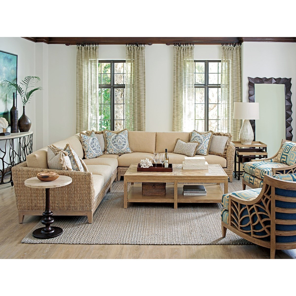 Barlow White Leather Sofa And Loveseat Set Tommy Bahama Home Los Altos Brisbane Tropical Five Piece Sectional