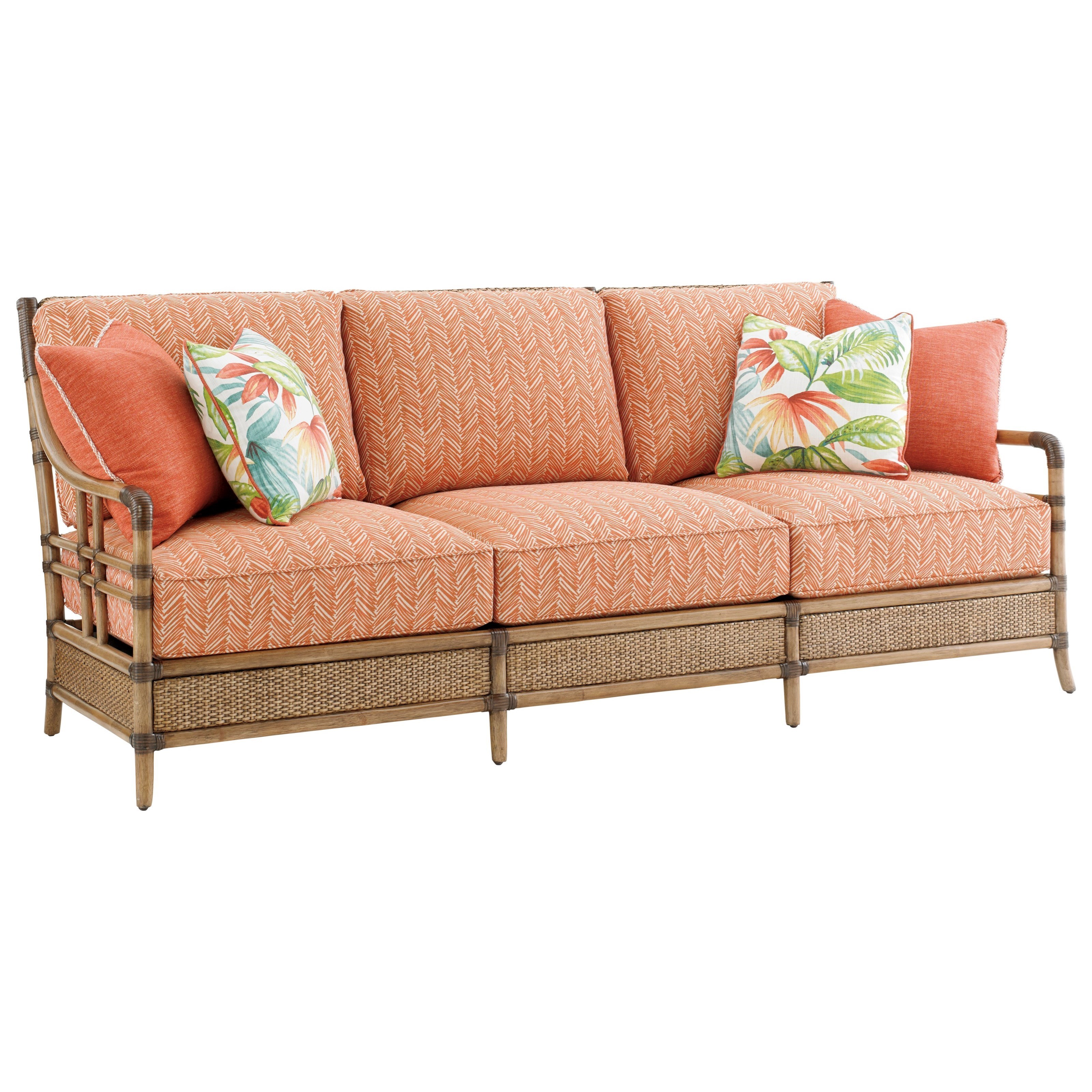 Rattan Twin Sofa Tommy Bahama Home Twin Palms Seagate Sofa With Woven And Leather
