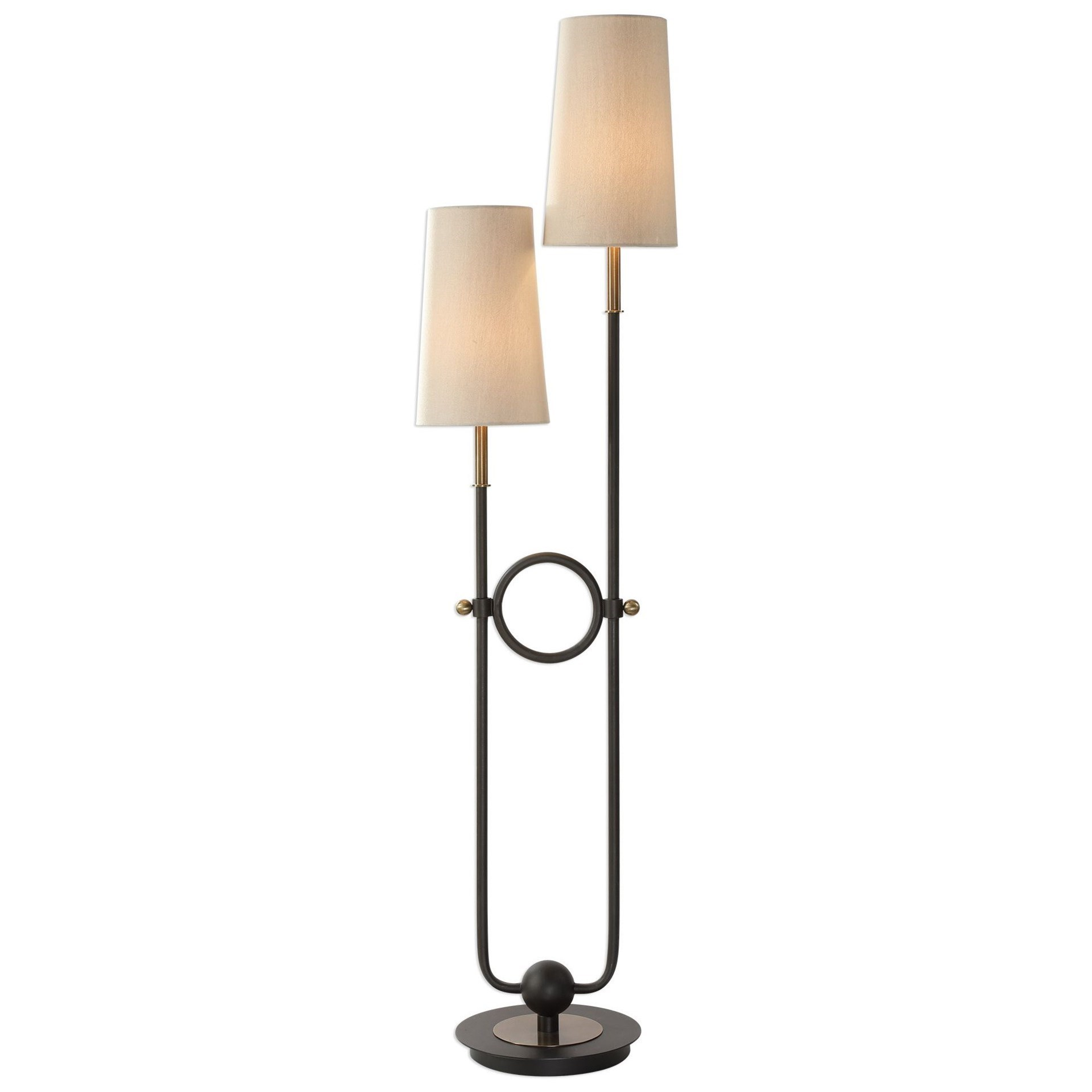 Arm Lamp Floor Lamps Riano 2 Arm 2 Light Floor Lamp By Uttermost At Hudson S Furniture