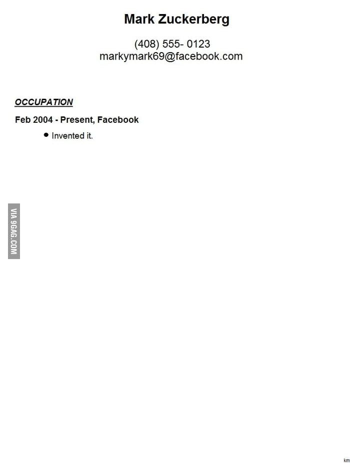Mark Zuckerberg\u0027s Resume Leaked! - 9GAG - mark zuckerberg resume