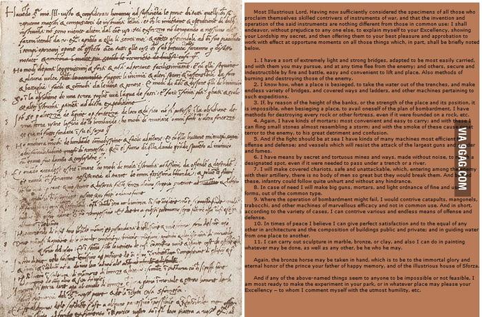 Leonardo da Vinci\u0027s Handwritten Resume (1482) - 9GAG