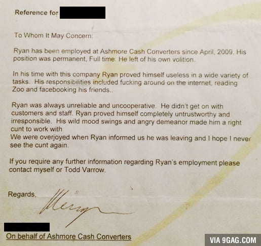 Possibly the worst reference letter for a new job? - 9GAG - didn t get the job letter
