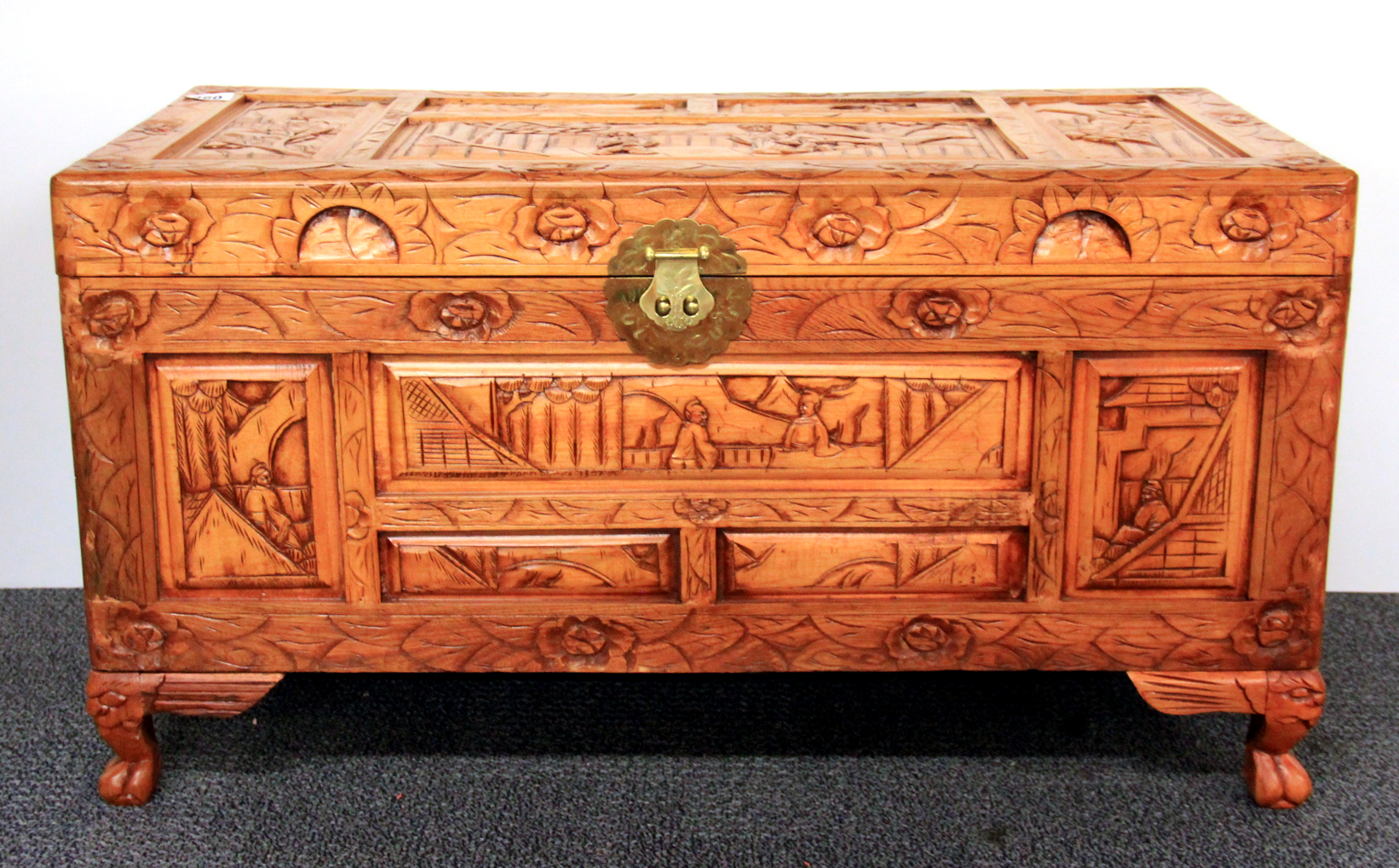 Wood Blanket Box A Medium Sized Chinese Carved Wooden Blanket Chest 87 X 41 X 47cm