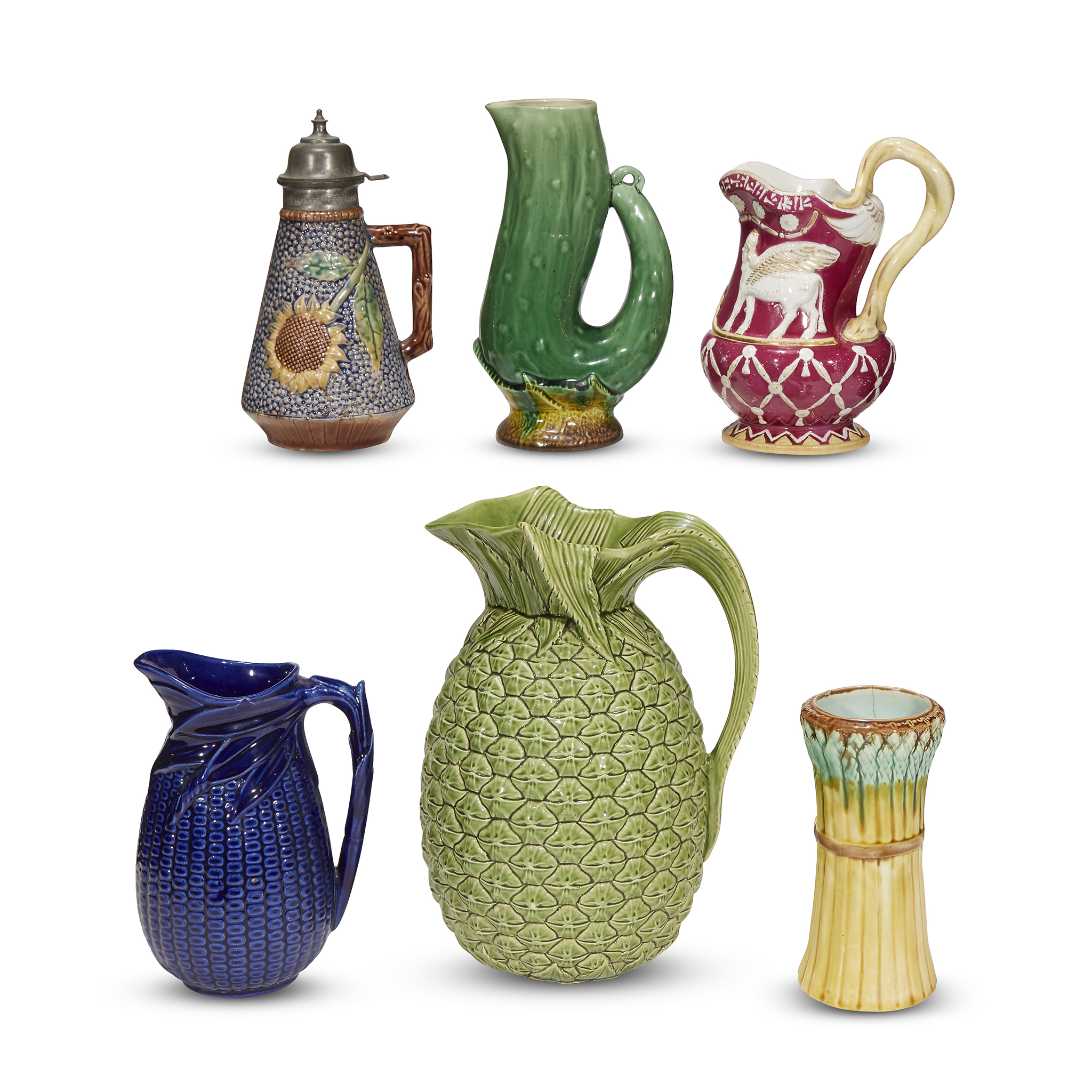 Pitchers Jugs A Group Of Five Assorted Majolica Pitchers And Jugs Last Quarter 19th Century
