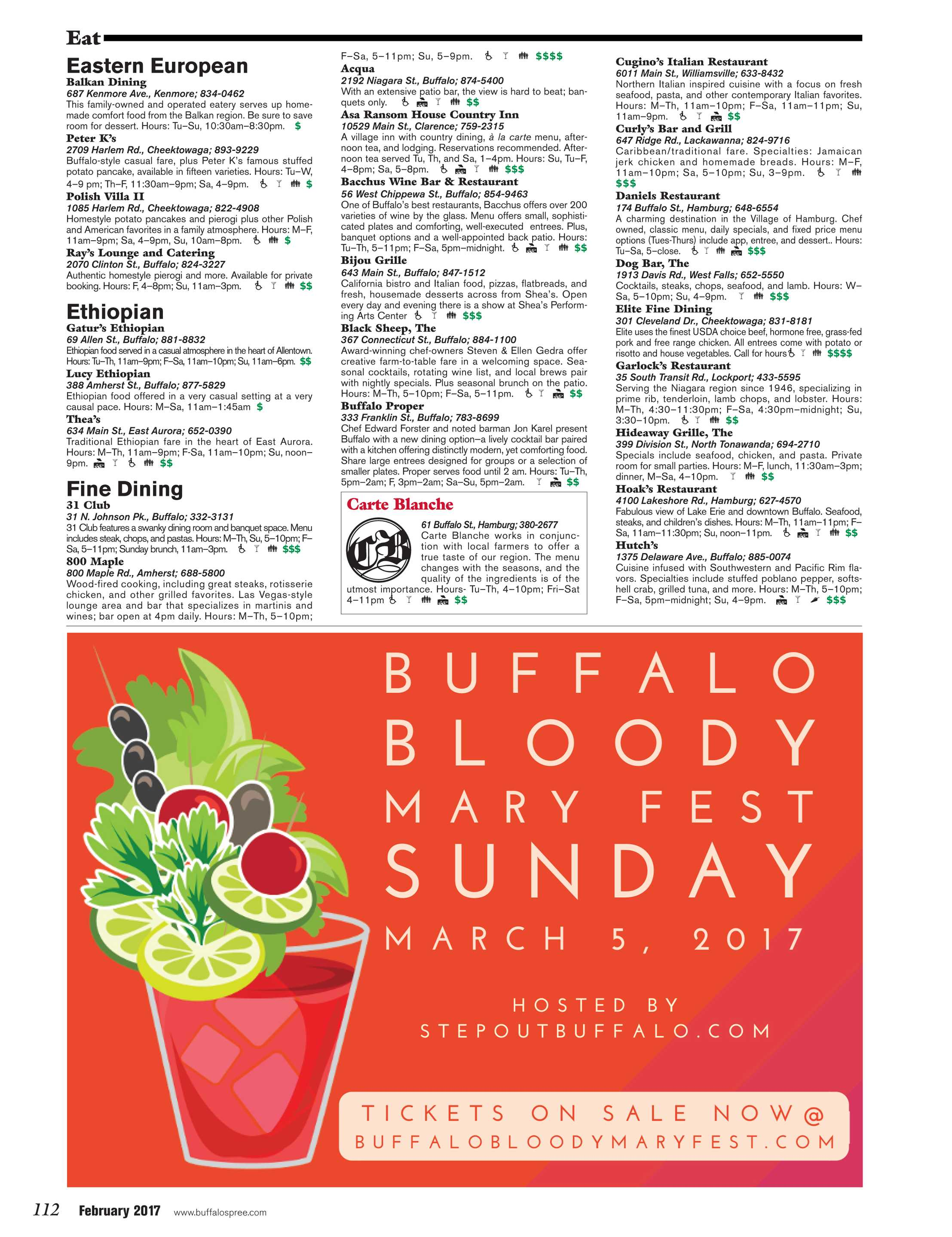 Carte Blanche Gourmet Tacos Buffalo Spree February 2017 Page 112
