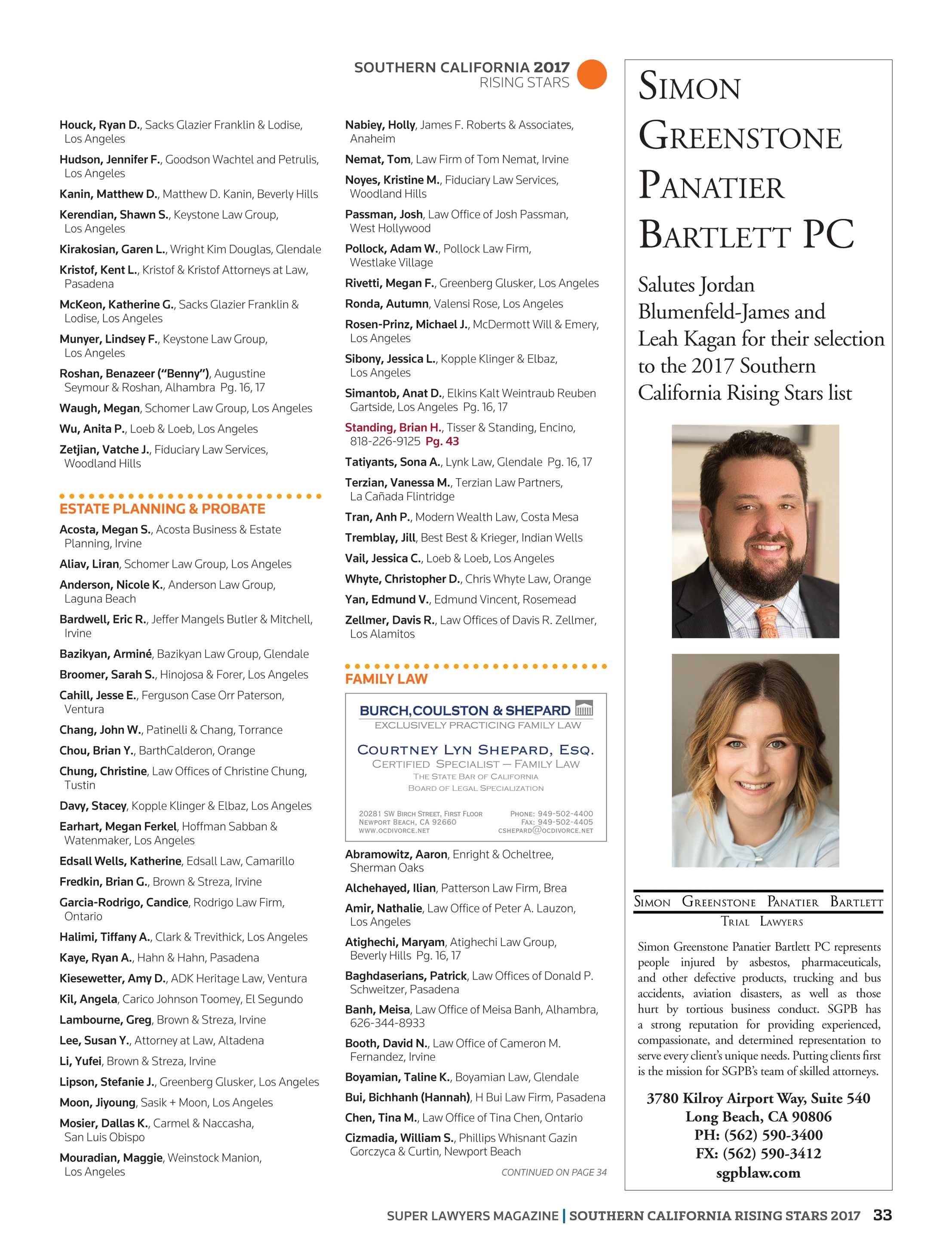Christian Materne Und Judith Williams Super Lawyers Southern California Rising Stars 2017 Page 33