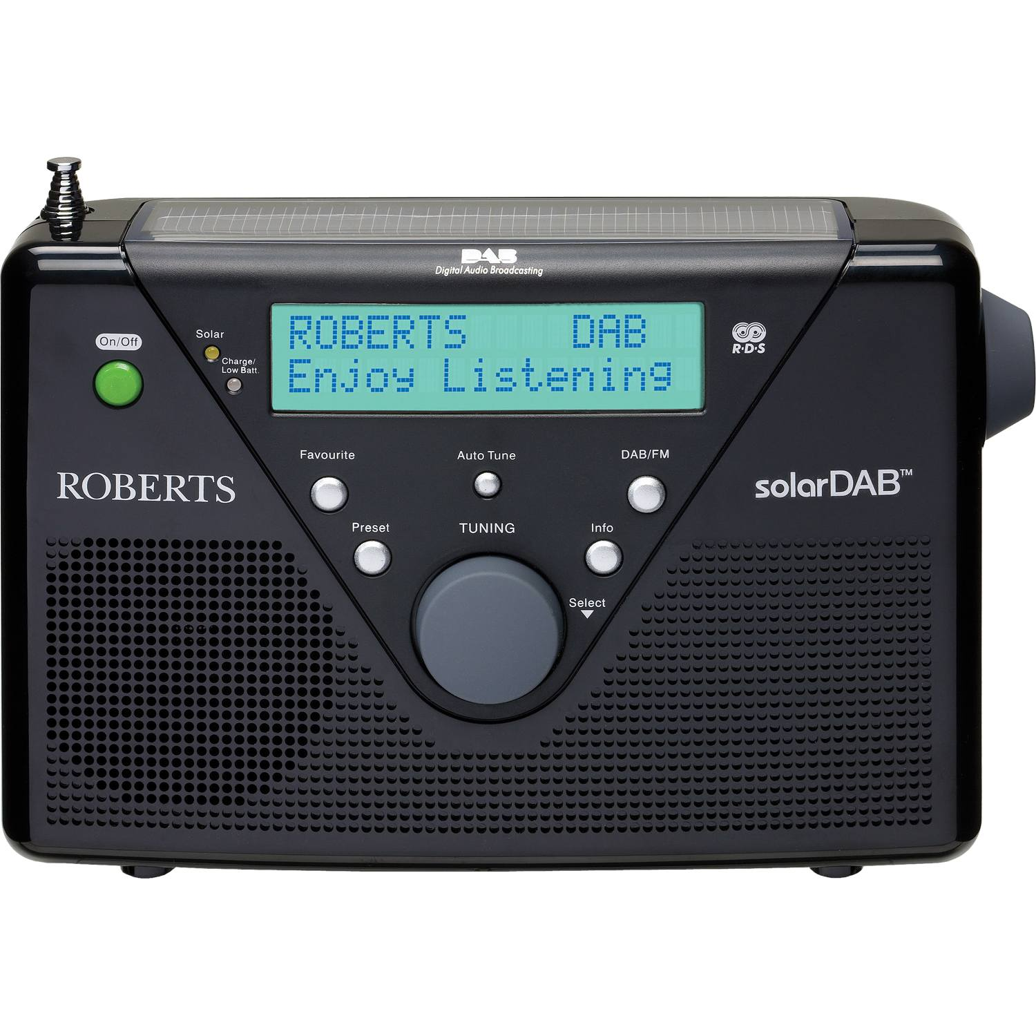 Battery Digital Details About Roberts Solar Dab 2 Portable Dab Fm Rds Solar Powered Digital Radio In Black