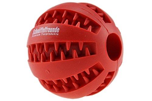 Schnüffelfreunde Hundespielzeug Ball aus Naturkautschuk mit Dental-Zahnpflege-Funktion | mit Noppen und Loch für Leckerli, ø 7cm, für große und kleine Hunde
