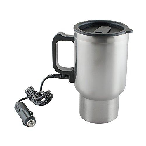 Carejoy 電気ケトル 12Vステンレス鋼の旅行コーヒーマグカップ加熱 容量450ml 車中泊 お仕事に カップラーメンに コーヒーに 乳児のミルク作りに!