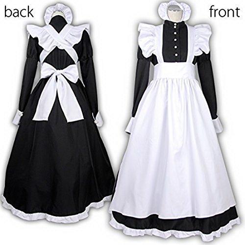 英国風 メイド服 衣装4点セット (ワンピース エプロン カチューシャ グローブ) コスチューム ブラック レディース Mサイズ