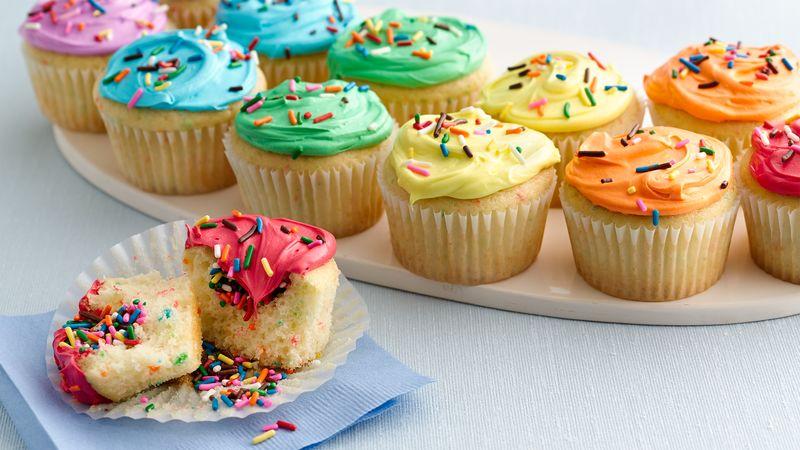 Double Rainbow Cupcakes Recipe - BettyCrocker