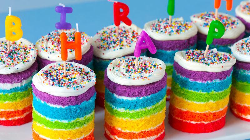 Teeny Tiny Rainbow Cakes Recipe - Tablespoon