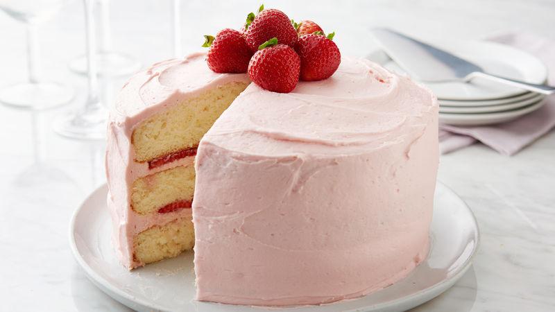 Strawberry Frosted Layer Cake Recipe Bettycrockercom