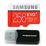 This EVO+ UHS-I microSDXC U1 Memory Card (Class 10) with Adapter from Samsung holds 256GB of data. Its Ultra High Speed Class 1 (UHS-3) bus interface enables it to achieve maximum read and write speeds of 95 MB/s and 90 MB/s respectively, which are f...