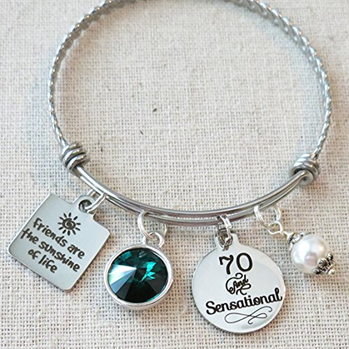 70th BIRTHDAY Gift For Her Milestone May Birthday Gifts Friend 70 And Sensational Bangle Bracelet Friends Are The Sunshine Of Life
