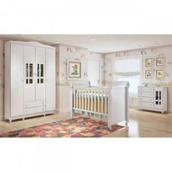 Quarto de Bebê Guarda Roupa 4 Portas, Cômoda Fraldário e Berço Mirelle Carolina Baby Branco