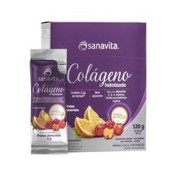Colágeno hidrolisado Sanavita Verisol com 2 unidades contendo 30 sticks cada. Sabor frutas amarelas