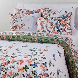 Enxoval Cama King Papillon Verde 7 Peças 100% Algodão - Casa & Conforto