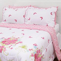 Enxoval Cama Queen Provence Rosa 7 Peças - Casa & Conforto