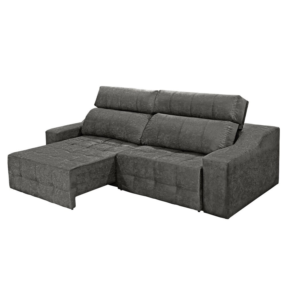 Sofa Retratil E Reclinavel Submarino Sofá 4 Lugares Connect Retrátil E Reclinável Suede Amassado Cinza Rifletti