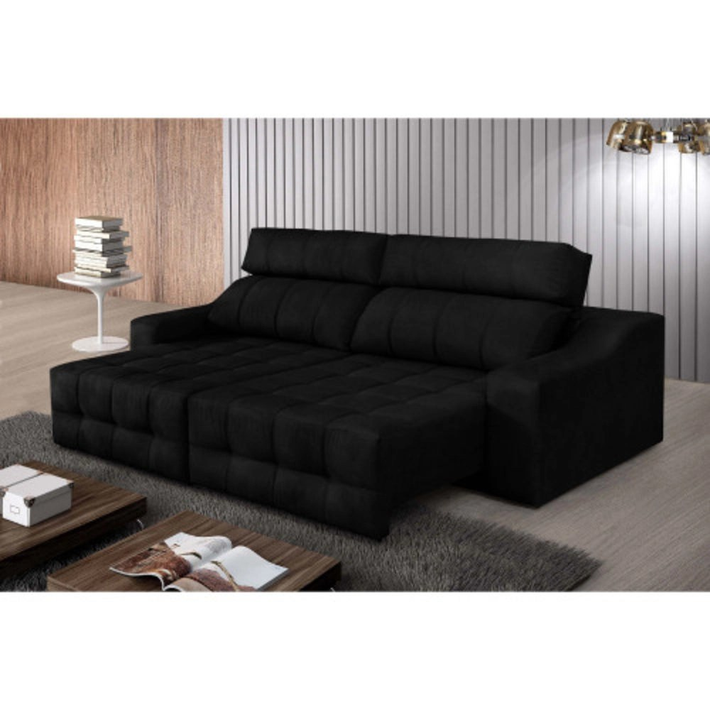Sofa Retratil E Reclinavel Submarino Sofá 4 Lugares Connect Retrátil E Reclinável Pena Preto Rifletti