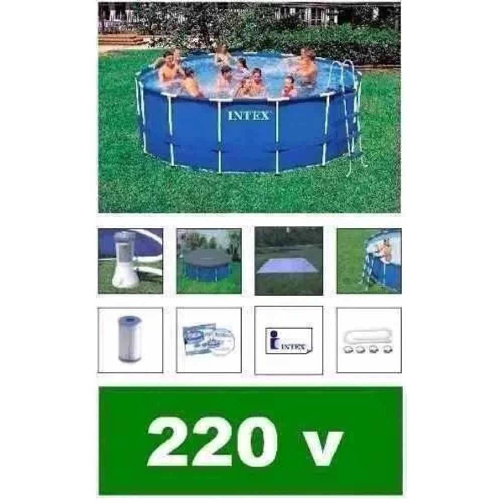 Capa De Piscina Intex Piscina Intex 11325 Lts Bomba Filtro 220v Capa Forro Escada No