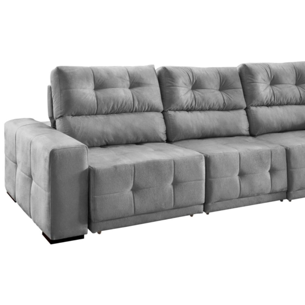 Sofa Retratil E Reclinavel Submarino Sofá 4 Lugares 266cm Madrid Reclinável Retrátil Cinza Havai