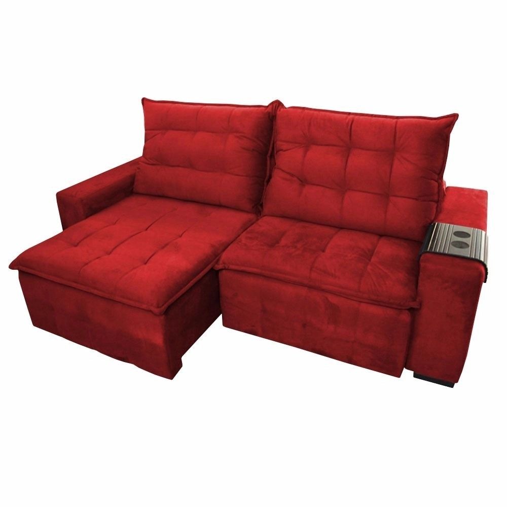 Sofa Retratil E Reclinavel Submarino Sofá Retrátil Reclinável Jetta Decor Magazine Suede Vermelho
