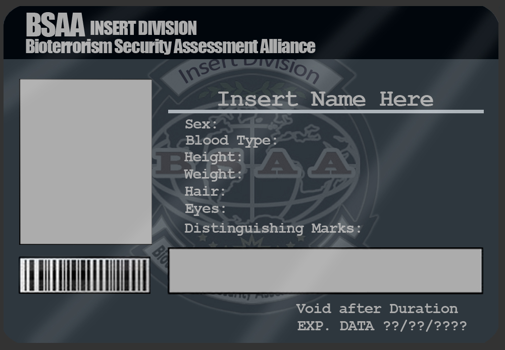 BSAA ID Card Template by MangaPip on DeviantArt