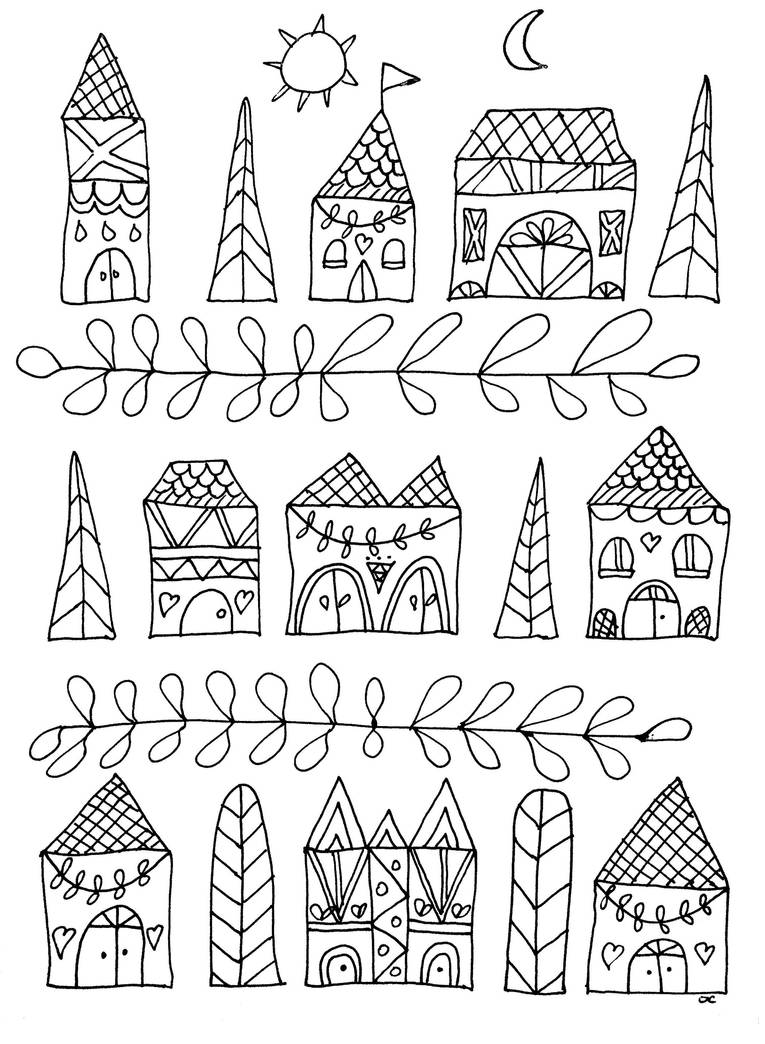 Dessiner Des Maisons Coloriage Dessin Naif Maisons Simples By Oliviercoloringpages On