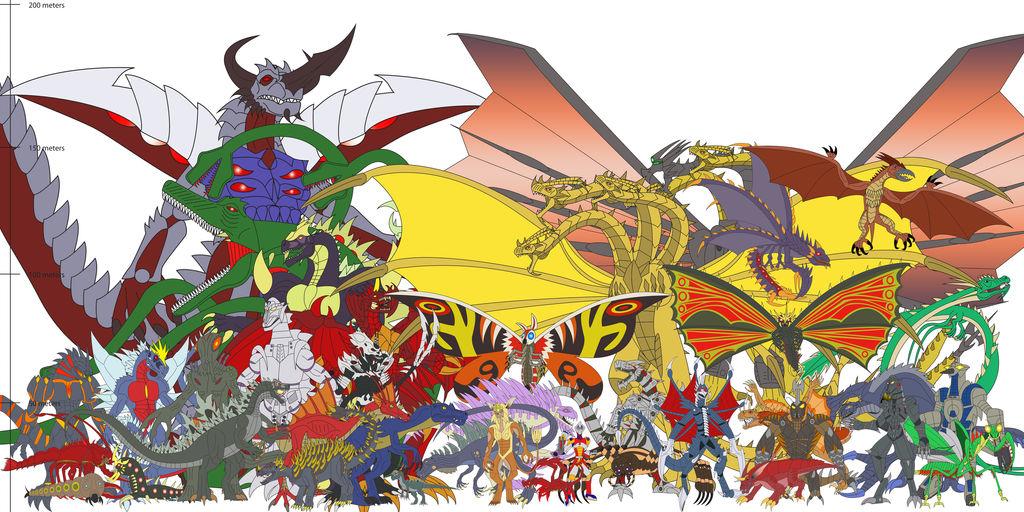 Godzilla Kaiju Size Comparison Chart wwwpicturesboss