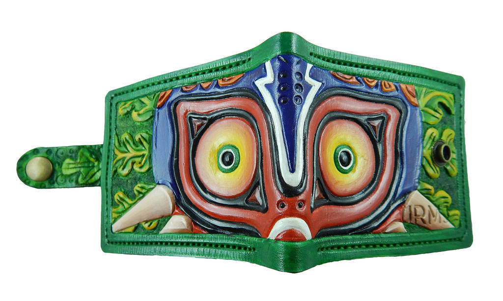 Green boarder Majoras Mask wallet with clasp by Bubblypies on DeviantArt