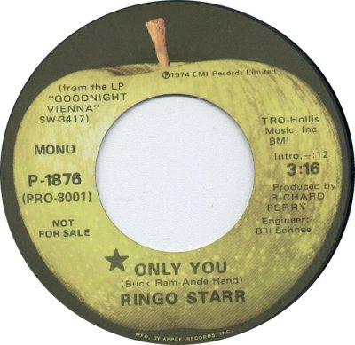 45cat - Ringo Starr - Only You [Mono] / Only You [Stereo] - Apple - USA - P-1876