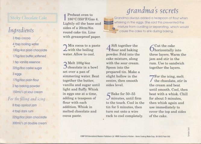 Free Recipe Cards - IMP BV / International Masters Publishers Ltd - double recipe cards