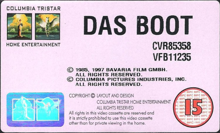 Vhs Das Boot Columbia Tristar Uk