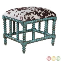 Chahna Turquoise Cow Print Western Style Small Bench ...