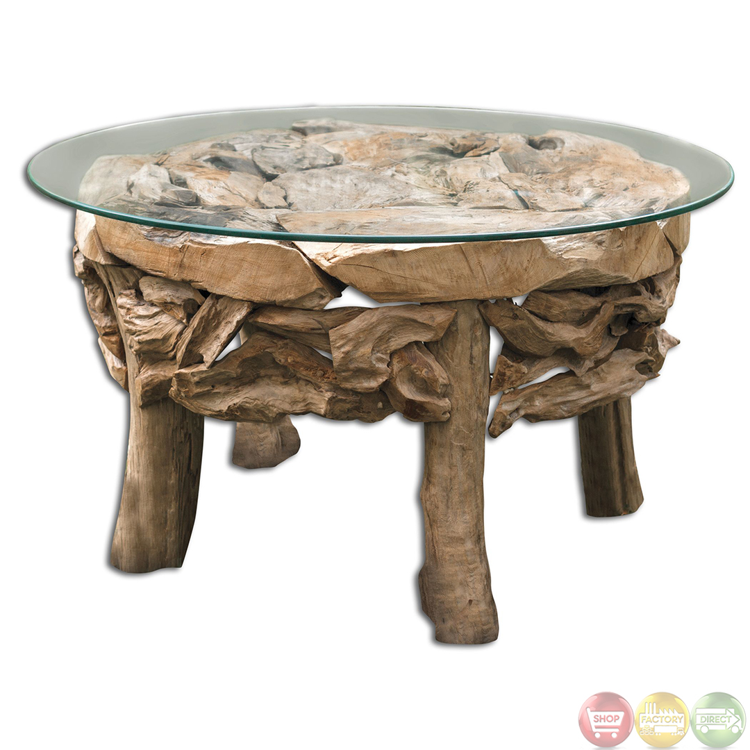 Rustic Beach Coffee Table Teak Root Glass Top Beach House Coffee Table 25619 Ebay