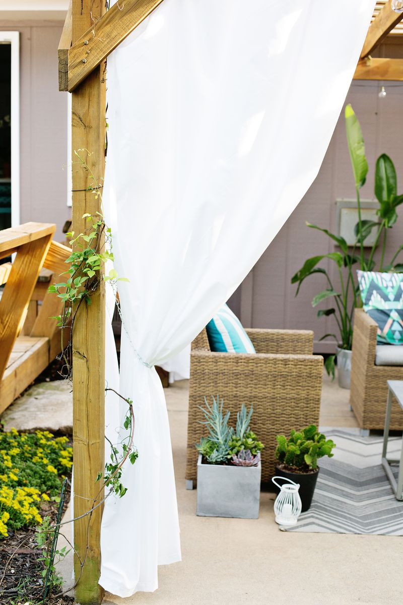 Outdoor Curtain Fabric By The Yard Make Your Own Outdoor Pergola Curtains A Beautiful Mess