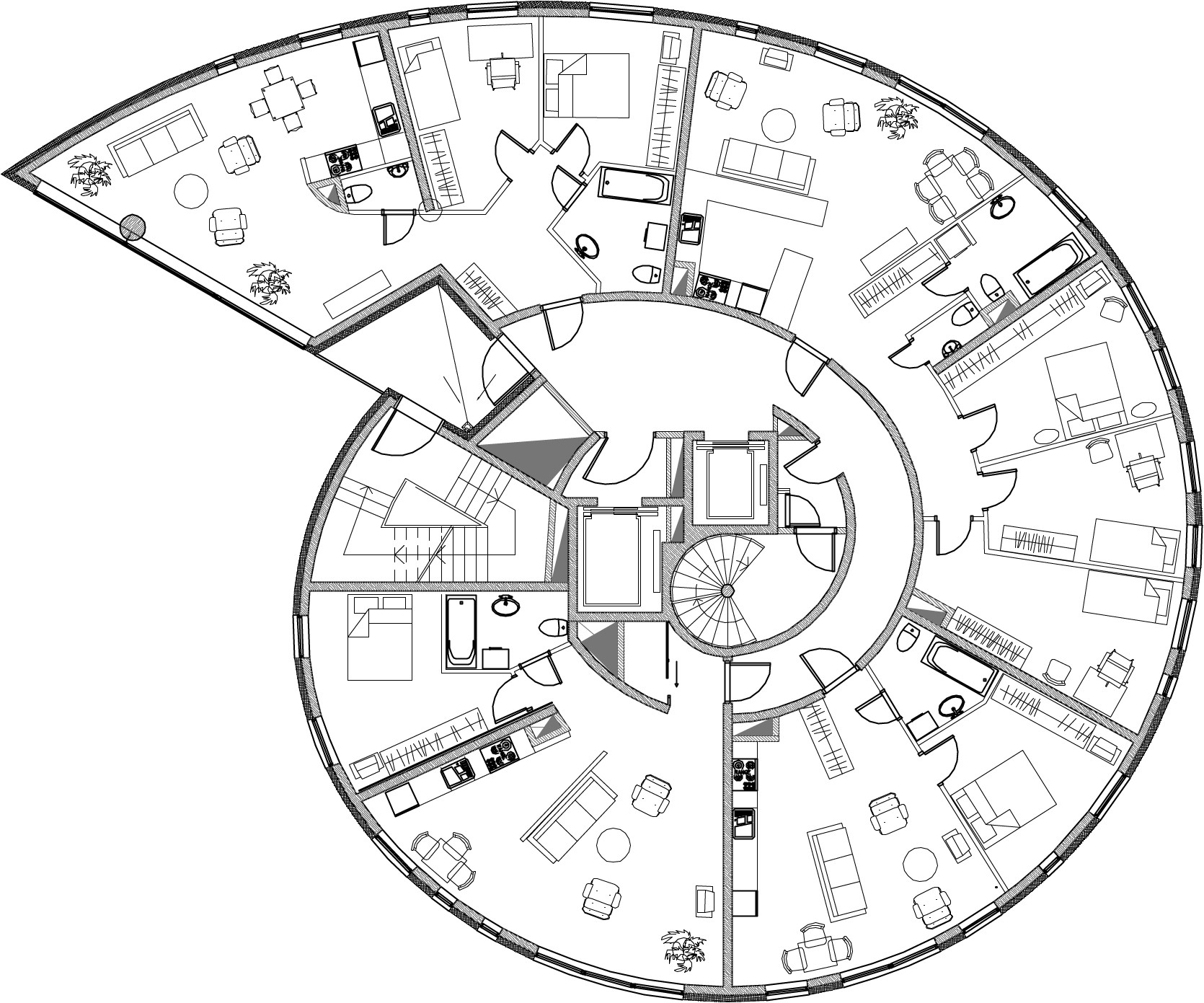 Spiral House Floor Plans