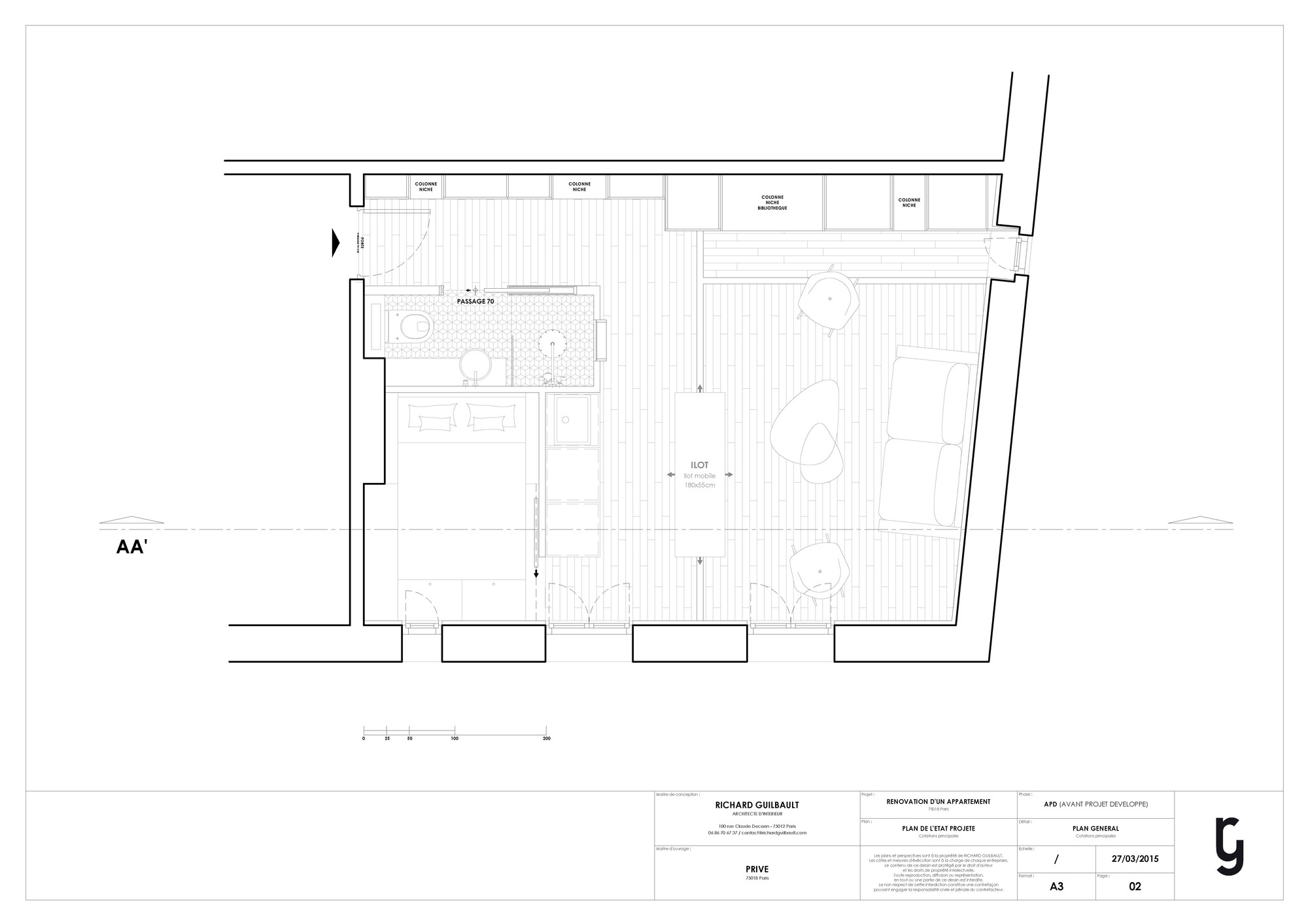 Flat Plan Gallery Of 30m2 Flat In Paris Richard Guilbault 15