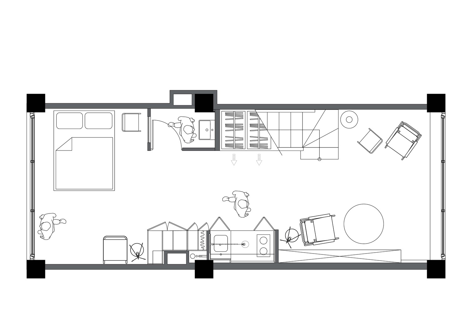 Flat Plan Gallery Of 33 M² Flat Studio Bazi 33
