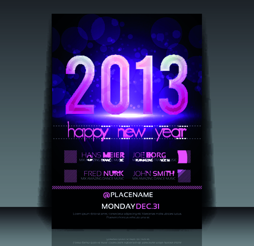 2013 happy new year flyer cover vector set Free vector in